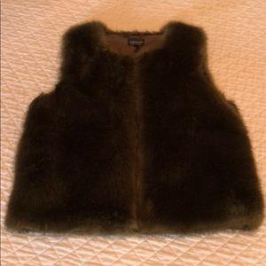 Topshop Olive Green Faux Fur Vest. Size M.